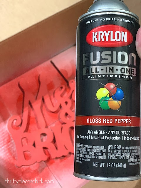 Glossy red spray paint Krylon