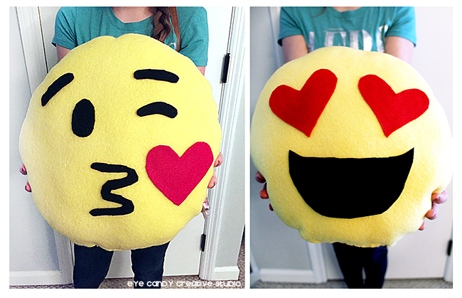 heart eyes emoji pillow, kissing face emoji pillow, handmade emoji pillow