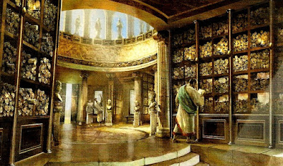 Interior de la Biblioteca de Alejandría, tan transitada como las biblioteca de hoy en día...