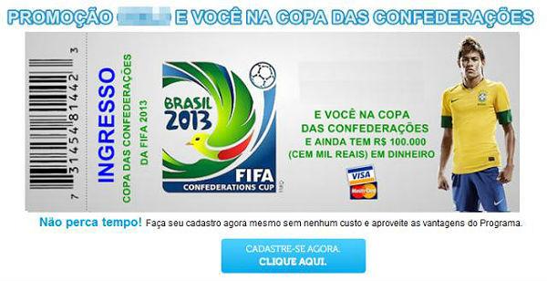 Ingresso falso da Copa das Confederações 2014 que acontecerá no Brasil