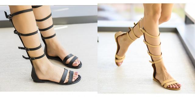 Sandale inalte gladiator negre, bej ieftine la moda fara toc