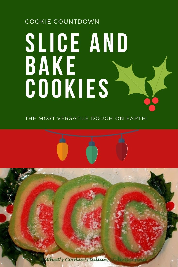 this is a pin for later of Holiday Christmas colors red green and white slice and bake cookies
