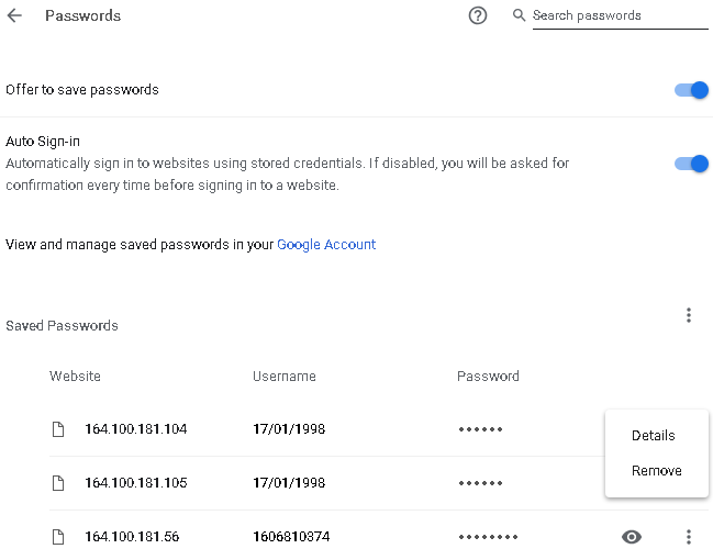 Saved passwords in desktop Google Chrome