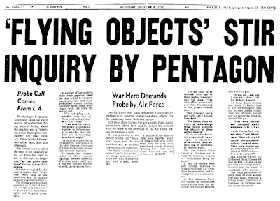Flying Objects Stir Inquiry By Pentagon - LA Mirror News 11-6-1957