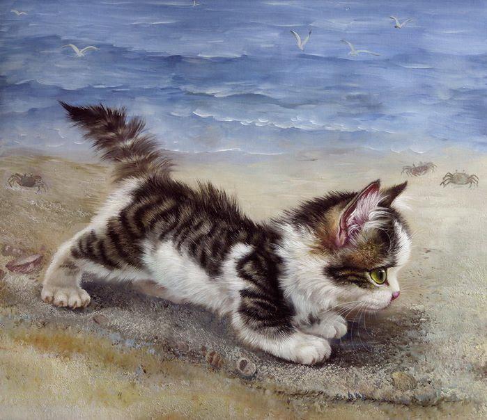 yağlı boya kedi tabloları