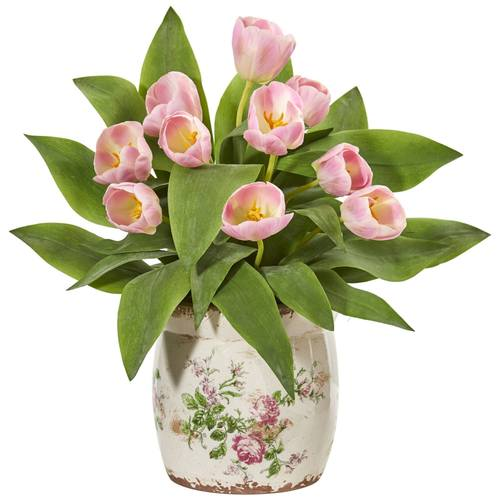 pink faux tulips French cachepot