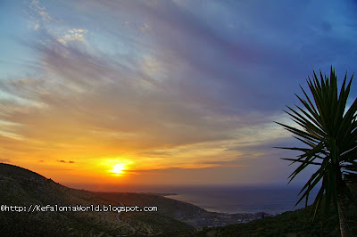 Sunrise over Katelios as seen from Markopoulo, Kefalonia