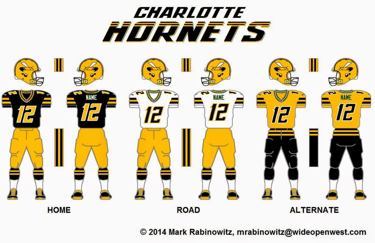 b04d19adc0cb The 2014 Charlotte Hornets (WFL) helmet and uniforms. Click on this picture  to see it full size.