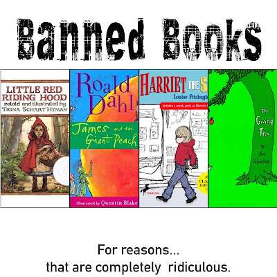 These 11 books were banned and the reasons are completely ridiculous, laughable, and silly.  Many classics and well loved read alouds found in this book list.  Read a banned book. Freedom of speech. Harriet the Spy, Where's Waldo, Little Red Riding Hood, Where the Sidewalk Ends, Giving Tree, Sylvester and the Magic Pebble, Charlie and the Chocolate Factory, James and the Giant Peach, Lorax, Tango Makes Three, Where the Wild Things Are. Picture books, middle grade fiction, poetry, fun, etc. Alohamora Open a Book, alohamoraopenabook, http://alohamoraopenabook.blogspot.com/