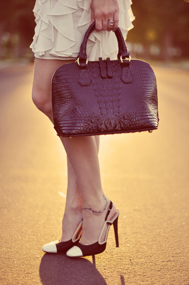 bramin bag, crocodile dome handbag, Giambattista Valli shoes