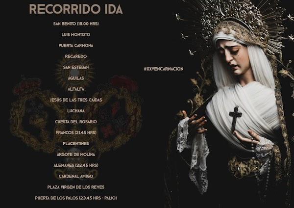 Itinerarios de la procesión extraordinaria de la Virgen de la Encarnación de Hdad San Benito