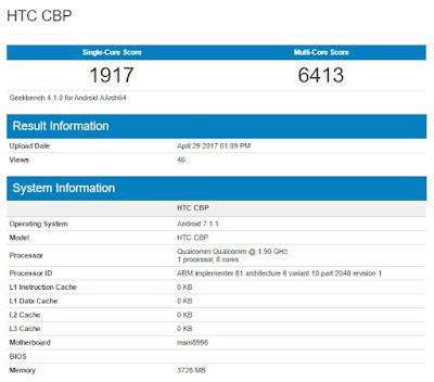 HTC U 11 muncul di situs patokan GeekBench, dibekali Snapdragon 835