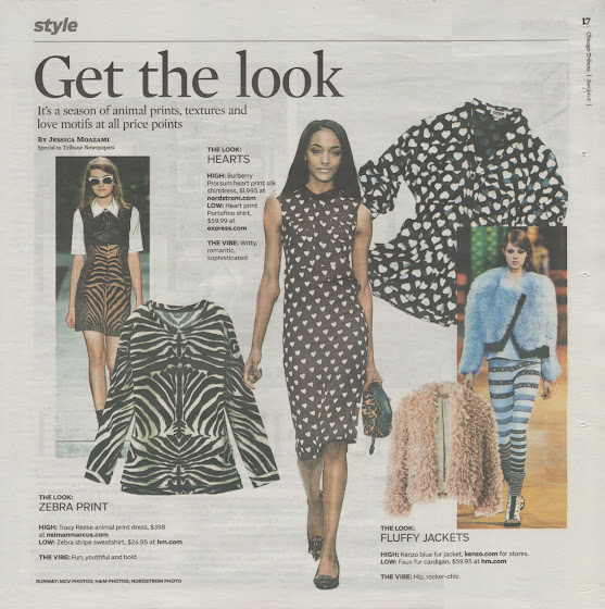 Chicago Tribune get the look page featuring hearts, zebra print and textures by Jessica Moazami