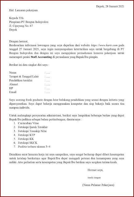 Contoh Application Letter Untuk Staff Accounting (Fresh Graduate) Berdasarkan Informasi Dari Website