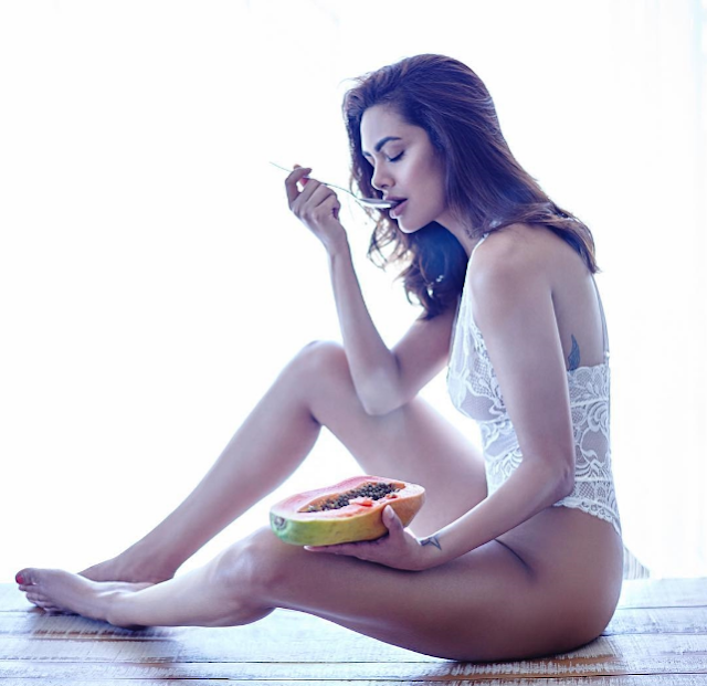 Esha Gupta Posing Topless Only In a Black Panty