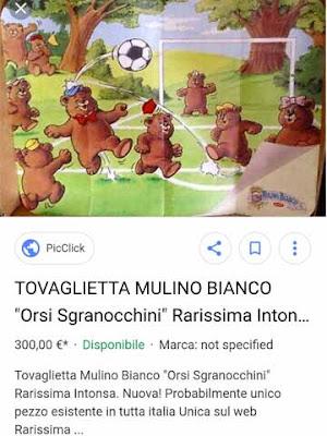 Tovaglietta degli Orsi Sgranocchini della Mulino Bianco in vendita a 300 euro
