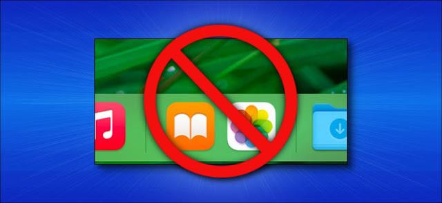 قسم التطبيقات الحديثة في Mac Dock مع رمز إلغاء فوقه.