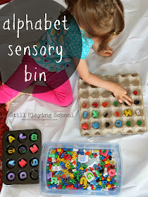 This alphabet sensory bin is a hands on way for kids to match, compare, and sort letters!  The literacy activities are endless!