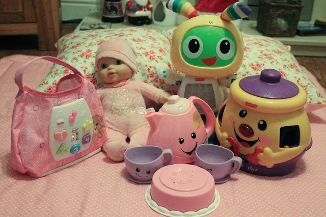 fisher price first handbag, beatbo, teacup set, cookie jar and baby's first annabelle doll