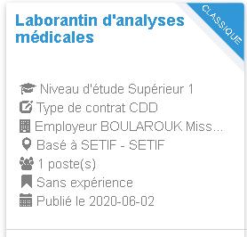 Laborantin d'analyses médicales SETIF