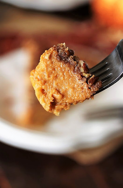 Bite of Pecan Streusel Pumpkin Pie Image