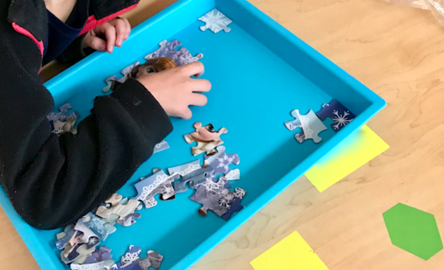 use trays for classroom puzzles
