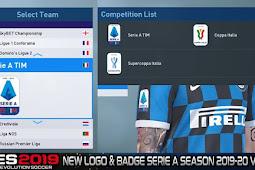 Serie A Season 2019/2020 Logo & Badge V2 - PES 2019