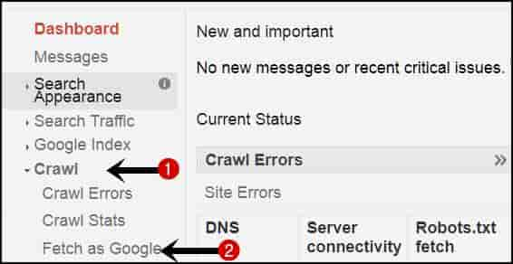 Google dashboard submit blog post url for indexing