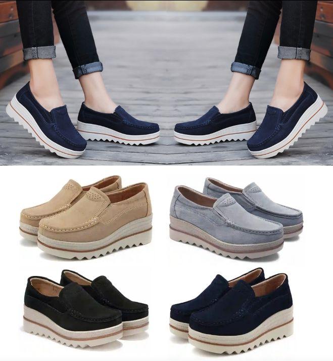 Ladies Suede Shoes with Thick Heels - Women's Casual Slip-On Platform Footwear