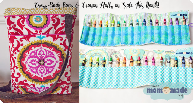 Cross-Body Tote Bags and Crayon Rolls on Sale at Mom-Made in April