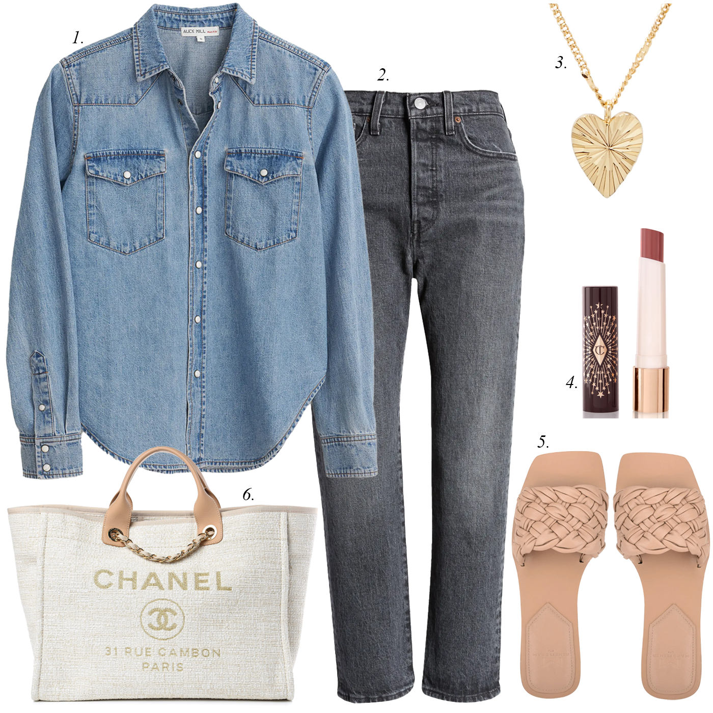 denim shirt, jeans, heart necklace, marc fisher braided sandals, chanel white canvas tote