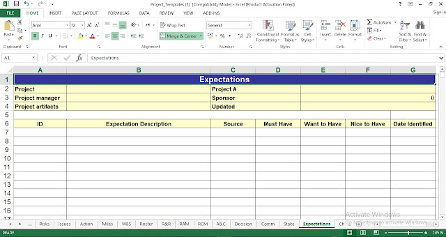 Expectations Template Excel