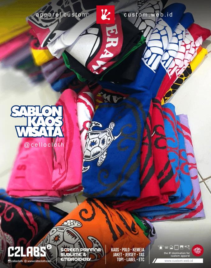 Sablon Kaos Wisata Desain Daerah Custom - Konveksi Kaos Wisata