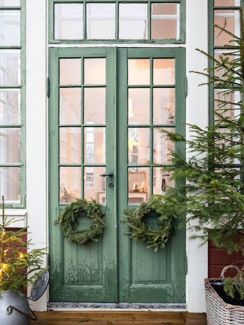Swedish Farmhouse Christmas Decorating green doors