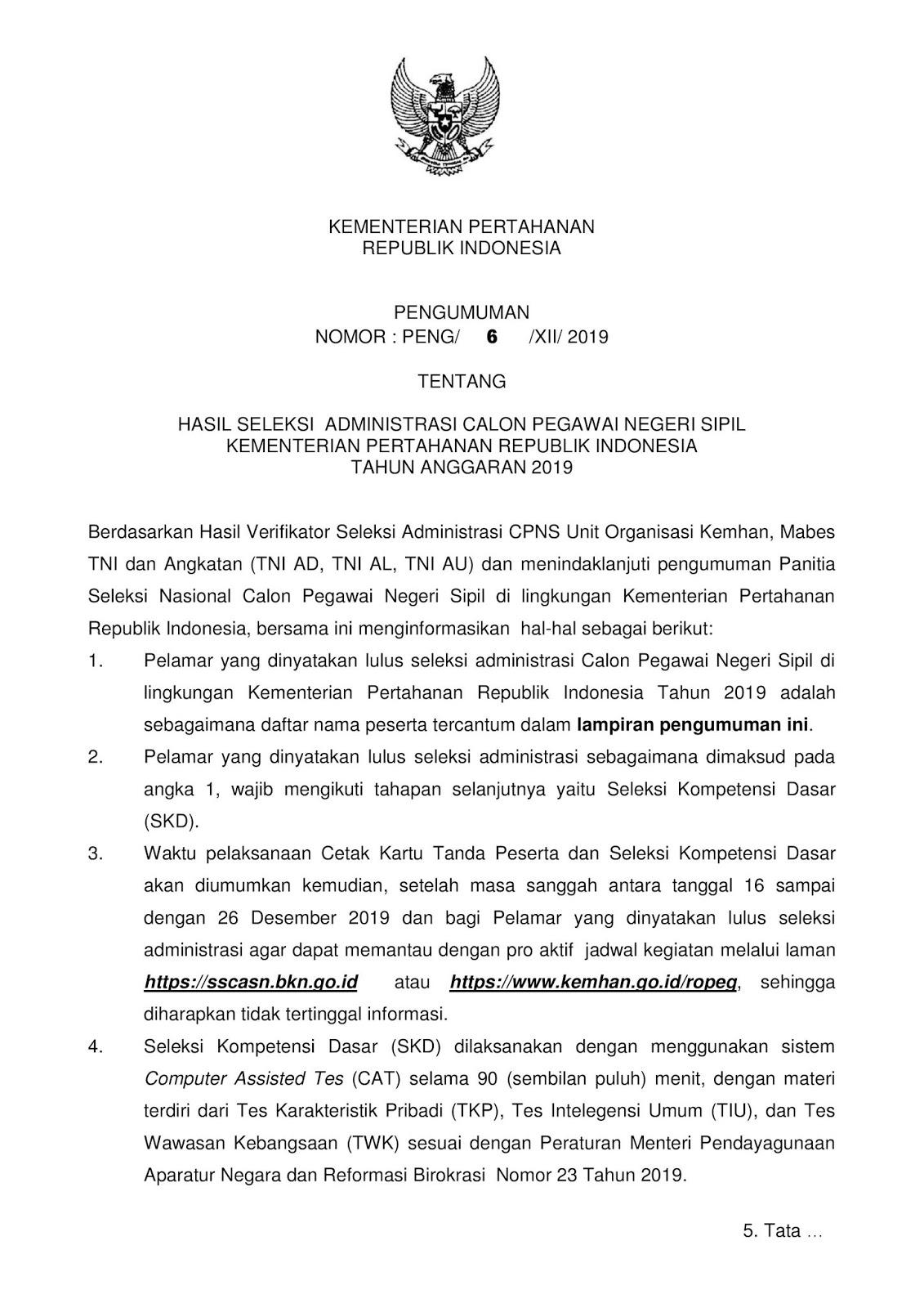 Pengumuman Informasi Hasil Seleksi Administrasi CPNS Kementerian Pertahanan Republik Indonesia Tahun 2019