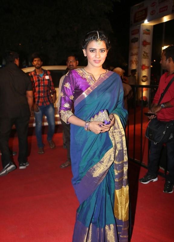 Actress At TV Awards In Blue Saree Dress Hebah Patel