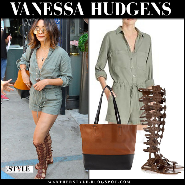 Vanessa Hudgens in khaki green rails romper and brown leather sandals louboutin what she wore