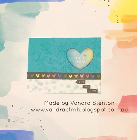 #CTMHVandra, #ctmhCelebrateToday, Colour Dare Challenge, color dare, TicTacToe, Love, Valentine, thinking of you, ocean, embossing folders, embossing, hearts, watercolour paint,