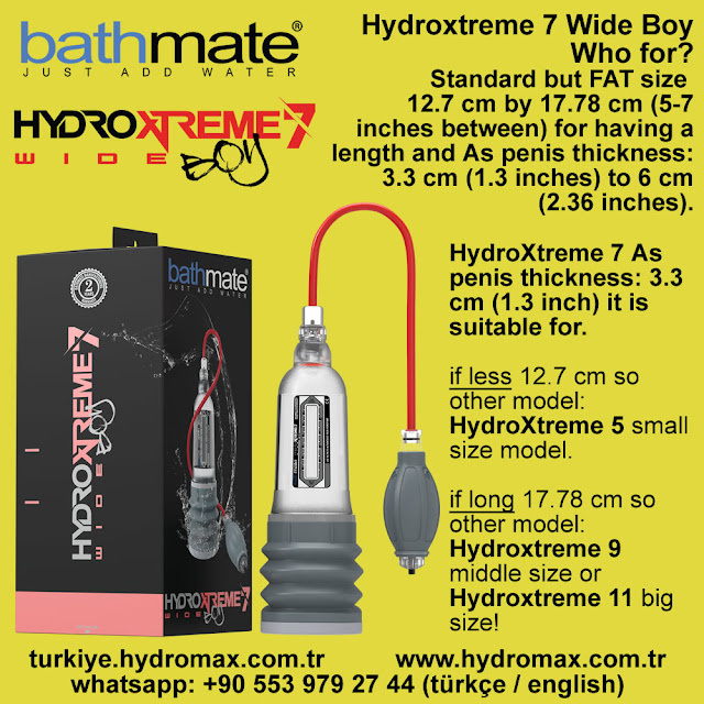 Bathmate HydroXtreme 7 Wide Boy penis Pump Size Chart. Best penis pumps from bathmate.