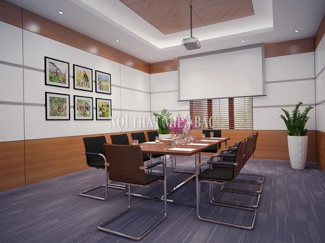 Để tăng tính sinh động và mới mẻ cho thiết kế phòng họp thì các kiến trúc sư đã vô cùng khéo léo bố trí những bức tranh treo tường nhỏ xinh, bắt mắt