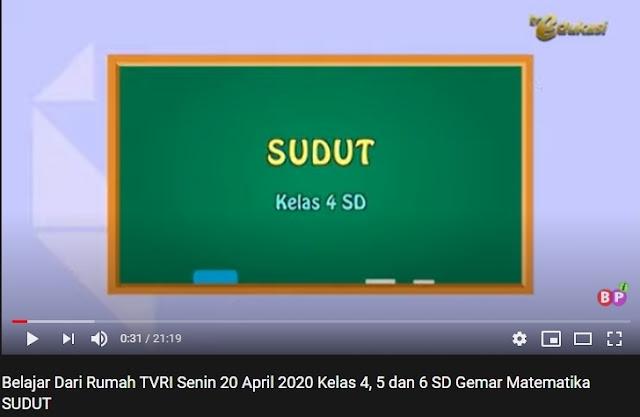 Belajar Dari Rumah TVRI Senin, 20 April 2020 Kelas 4, 5 dan 6 SD Tentang SUDUT