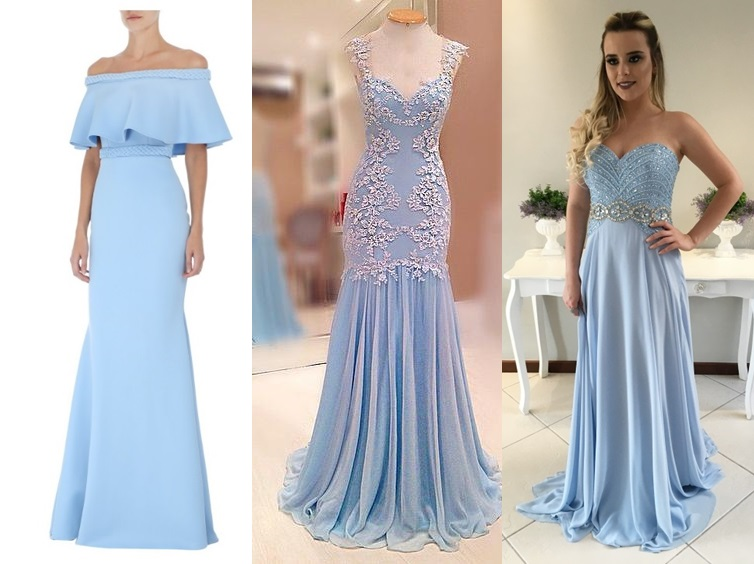 Vestidos de madrinha de casamento azul celeste