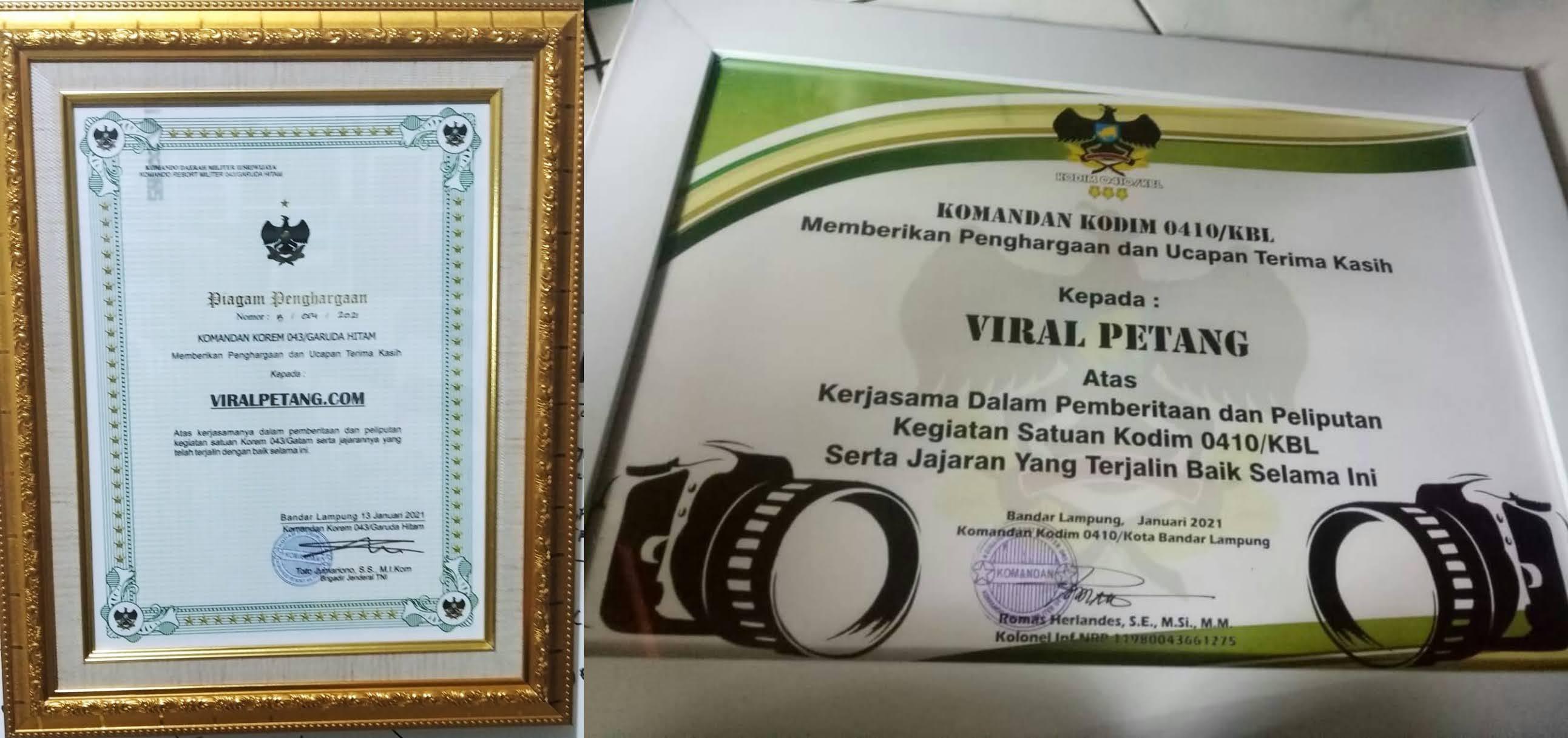 ViralPetang.com Terima Dua Penghargaan, Dari Dandim 0410KBL dan Korem 043Garuda Hitam