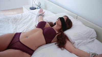 Blindfolded handcuffed MILF mom gets duped into fucking her horny stepson