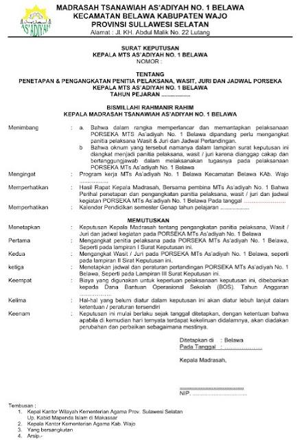 Contoh SK Penetapan dan Penunjukan Penitia Porseka Terbaru