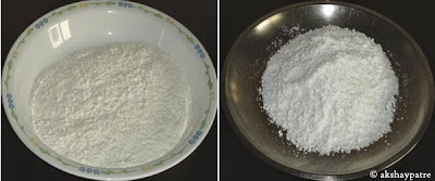 sieved maida and sugar powder