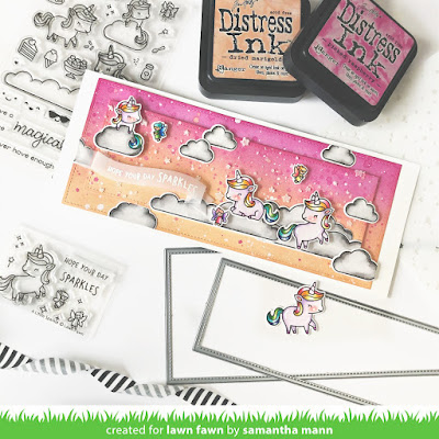 Hope Your Day Sparkles Card by Samantha Mann for Lawn Fawn, YouTube Video, Video, Stamps, Clear Stamping, Distress Inks, Ink Blending, Stencil, Slimline Card, Cards, #lawnfawn #unicornpicnic #slimline #cards #cardmaking #distressinks #inkblending