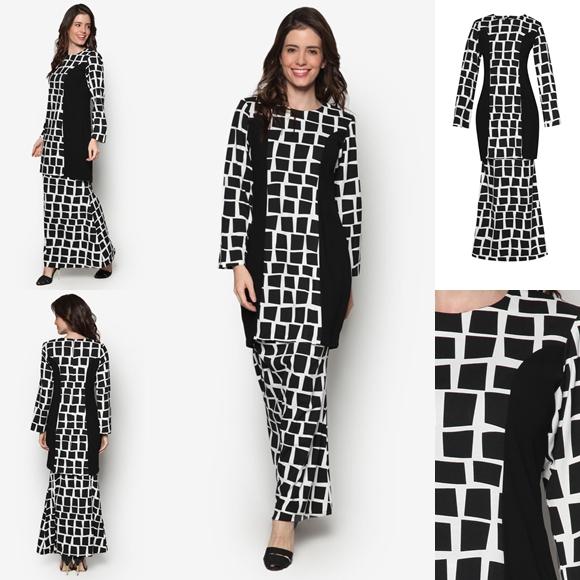 Fesyen Baju Kurung Moden Terkini Black White Monochrome Lantana By Butik Sireh Pinang