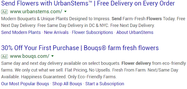 "Paid search result example for ""send flowers"""