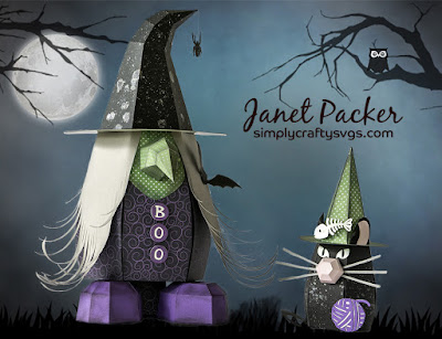 Big Witchy Gnome Box and Gnome Cat 3D SVG paper craft models